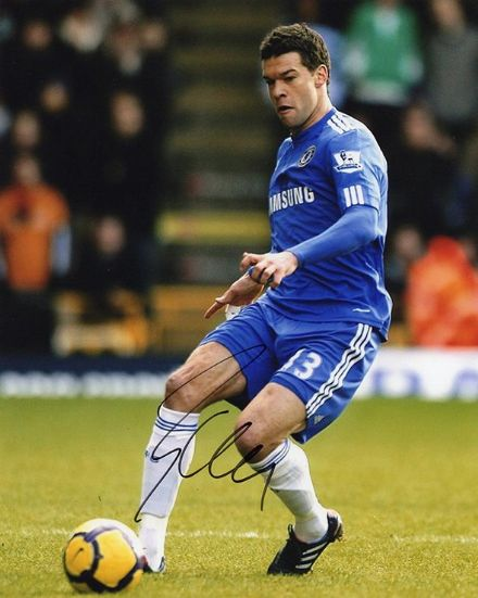 Michael Ballack, Chelsea & Germany, signed 10x8 inch photo.(2)